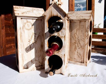 "Wine Rack ""House"" shabby look"