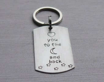 I love you dog tag keychain - hand stamped - love you to the moon and back - gift for husband/wife/boyfriend/girlfriend
