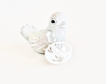 Carved Mother of Pearl Bird Brooch Pin
