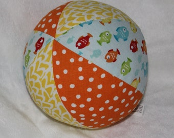 Rainbow Fish Fabric Boutique Ball Rattle Toy - SALE
