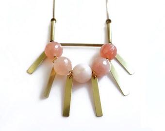 Carnelian Necklace, Gold Fringe Necklace, Carnelian Arc Statement Necklace