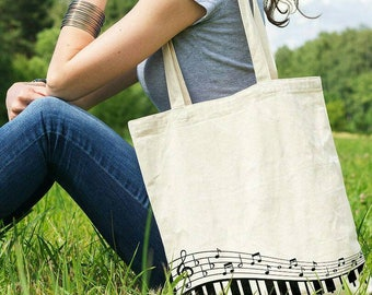 Music Notes Tote Bag Musician Gift Music Note Bag Treble Clef Music Gift Music Lover Music Teacher Gift