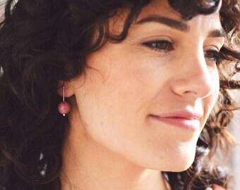Minimal Gold Stick Earrings, Stone Drop Earrings, Statement Bar Earrings, Pendulum Earrings | Orb Earrings