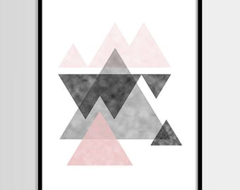 Abstract print, Modern print, Graphic art, Scandinavian, Black white pink, Digital art, Printable art, Digital poster Instant Download 8x10