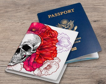 Passport cover skull Passport leather Pass cover floral Passport cover Floral cover Passport holder Passport wallet Cover red flowers CC_021