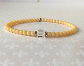 Beaded Bracelet, Stacking Bracelets, Crystal Bracelet, Layering Bracelets, Czech Glass Light Cream