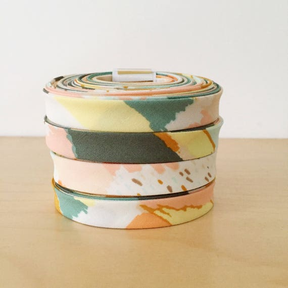 "Art Gallery Fabrics Bound 1/2"" double-fold cotton bias tape- Metallic Gold Watercolor- 3 yard roll"