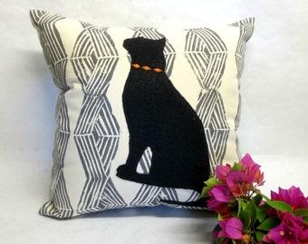 Decorative Cat Pillow - Decorative Cat Silhouette Pillow, Hand Block Print Black Felt Cat Silhouette Pillow, Modern Cat Pillow Home Decor
