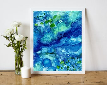 Underwater Abstract Printable, Abstract Art Print, Abstract Painting Print, Alcohol Ink Painting, 8x10 Print, Coastal Home Decor, blue green