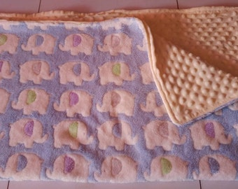 Elephants Super cuddle and soft minky baby blanket