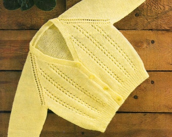 Vintage Baby Cardigan Knitting Pattern 19 - 21 inches