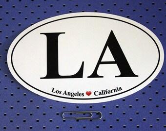 Los Angeles California (LA) Oval Bumper Sticker