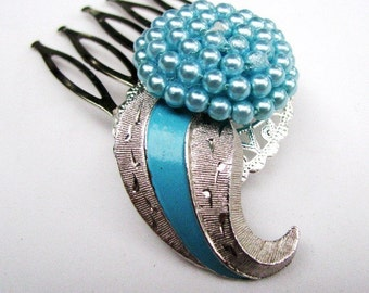 Aqua Paisley - Vintage Silver and Aqua Hair Comb, Retro Fabulous Something Blue for the Bride, Rockabilly Ensemble,