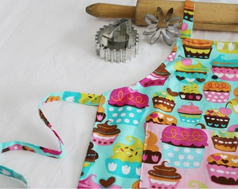 Sweet Cupcakes Child Apron - teal with pink cupcake pocket