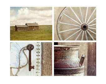 Rustic Photography, Set of 4, Country Wall Art, Farmhouse Decor, Neutral, Blue & Green, 'Prairie Life'