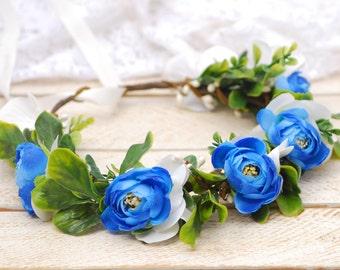 Blue white flower crown Flower halo Wedding flower crown Bridal headband Pink floral crown Flower hair wreath bohemian flower crown