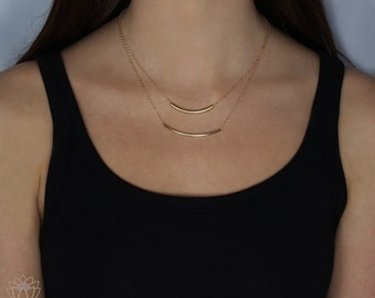 """Gold Curved Tube Bar Necklace, Delicate Long Gold Bar Necklace, Gold Filled Curved Tube Necklace, Long Curved Tube Necklace, 52mm, 2"""", LC163"""