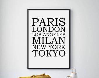 Sale!!! New York Fashion, London, Paris, Milan, Fashion Art, Fashion Wall Art Decor, Fashion Poster, Fashion Print, Fashion Wall Art
