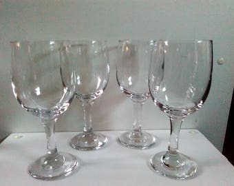 Set Of 4 Clear Wine Glasses, Red Wine Glasses