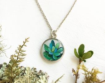 Handmade Original Art Succulent Necklace, Nature Jewelry, Wedding Succulent Necklace, Green Bridesmaid Jewelry, Succulent Pendant