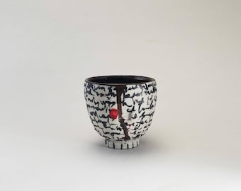 "Handcrafted Porcelain Yunomi ""Ohata Scrawl v.1,"" Ready to Ship, Wheelthrown Yunomi, Red and Black Whiskey Cup"