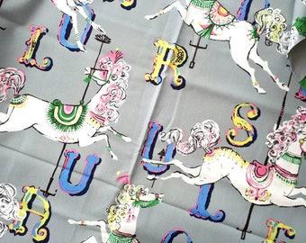 Horses, Dear Stella fabric, Carousel Horses, Grey, By the Metre or precut lengths