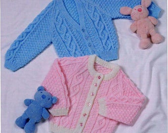 Baby Cabled Cardigan collection vintage knitting pattern -Immediate download