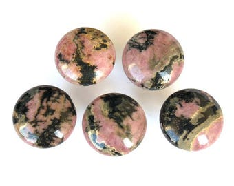 Pink RHODONITE Natural Stone Cabinet Knobs - Home Décor