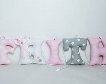 Fabric letters, nursery wall letters, fabric name banner, baby room decor,guirlande prénom