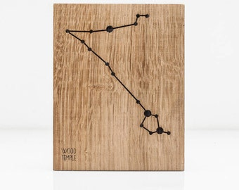 Pisces Constellation Picture -Zodiac -Wooden handmade - Woodworking - Wood - Sign - Wall Art- Custom - Personalized - Gift - 11 cm x 14 cm