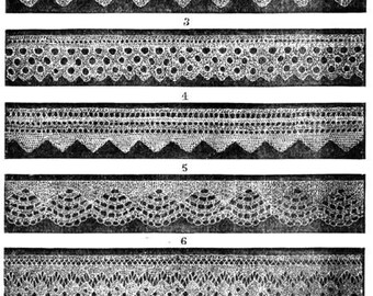 Knitted lace edgings 7 Victorian knitting patterns in Set 1 Downloadable PDF 1850s