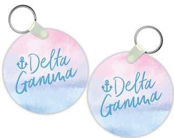 DG Delta Gamma Watercolor Script Keychain Sorority Gift Sorority Keychain