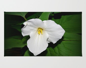 Trillium area rug, nature photograph, color photography, spring wildflower, white flower, garden, floral home decor, living room, bedroom