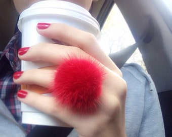 Mink pompom ring, Red Mink  finger ring with genuine leather.Real fur ring