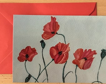 Greeting card Poppy red A6