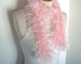 Vintage Handmade Pink Fringe Scarf - Fuzzy and Soft Yarn in Pastel Pink. Long Scarf Funky Gifts Under 20 Arty Fall Fashion Warm HandKnit