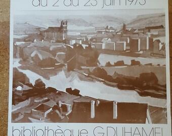 REDUCED / French Vintage Art Exhibition Poster / Bernard Saupique / 1973 Poster