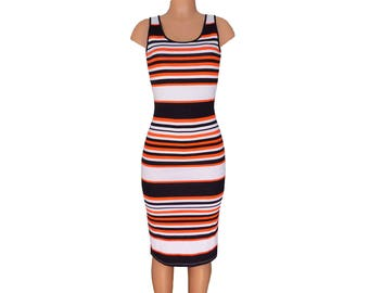 Orange + Black Striped Tank Dress