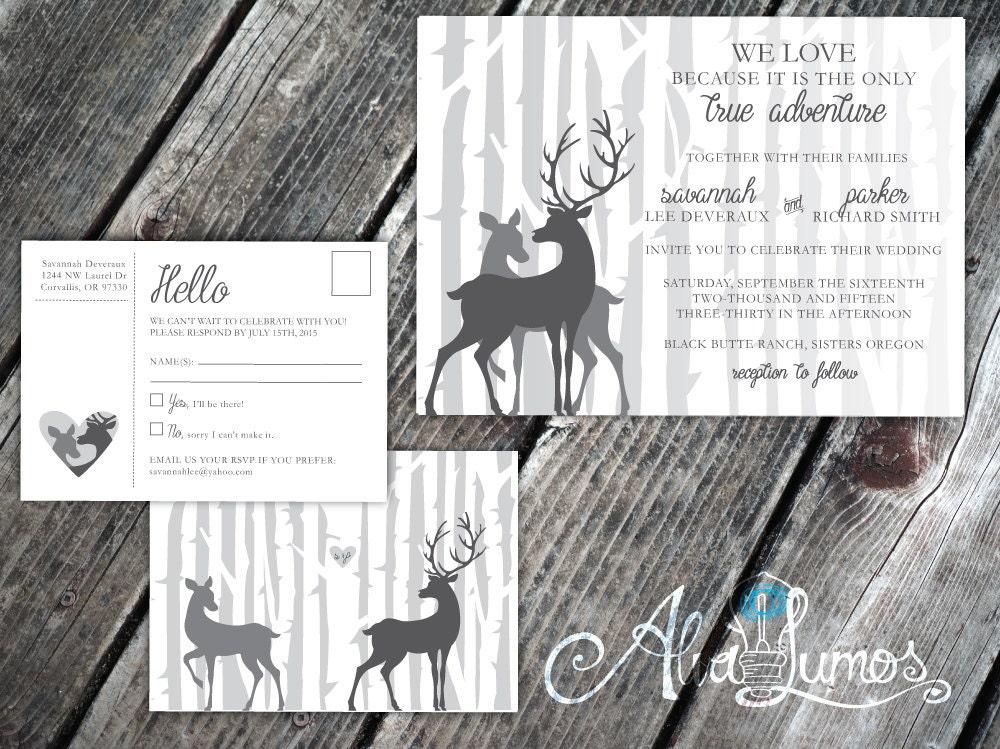 Deer Wedding Invitations: Rustic Deer Wedding Invitation Deer Wedding Deer Invitation