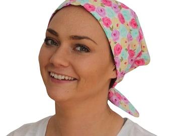 Sandra Scarf, A Women's Surgical Scrub Cap, Cancer Headwear, Chemo Head Scarf, Alopecia Hat, Head Wrap, Head Cover, Hair Loss  Pastel Flower