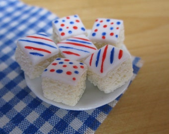 Red, white and blue sponge cake squares