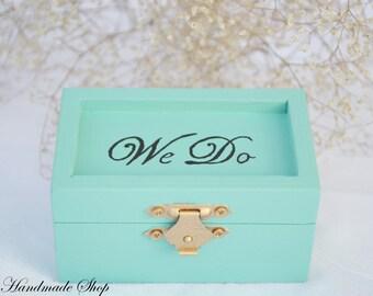 Wedding Ring Pillow, Mint Ring Bearer Pillow, We Do Ring Bearer Box, Ring Box
