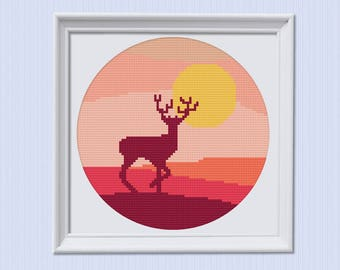 Modern Cross Stitch Pattern, Embroidery Pattern, Hoop Art Pattern, Beginner Embroidery, Diy Hoop Art,  Xstitch, Simple, Colorful, Deer
