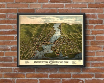 Mystic River, Connecticut - 1879 Panoramic Map