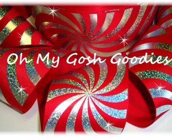 """PSYCHEDELIC HOLOGRAM RED Silver Grosgrain Tic Toc Cheer Ribbon - 3""""  - 5 Yards - Oh My Gosh Goodies Ribbon"""