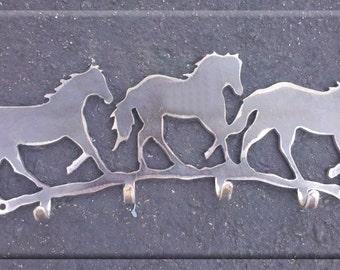 Three Horses with Hooks Key Rack