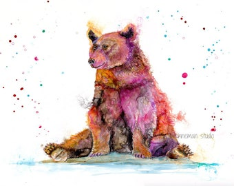 Bear art: bear nursery decor animal nursery art colorful bear art bear wall decor, bear lover art, bear lover gift cabin art bear decor