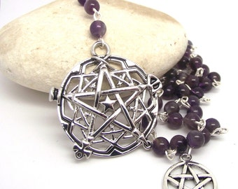 """Witches Ladder Pagan Divination """"Spell Casting"""" Amethyst Pagan Prayer Beads"""