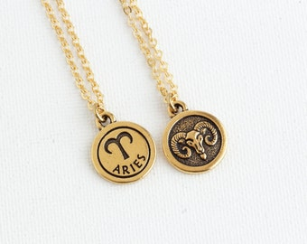Aries Necklace, Personalized Zodiac Necklace, Aries Jewelry, Zodiac Sign Jewelry, March Birthday,  Astrology Pendant, Gift For Daughter