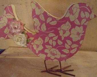 Altered Shabby Pink Flowers Decoupaged Wooden Bird